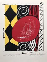 "Modern ABSTRACT Serigraph Print Atsuko Okamoto Contemporary Pop Art  21"" x 30"""
