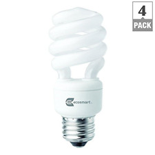 EcoSmart 14W 5000K Spiral CFL Light Bulb, Daylight 4-Pack