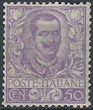 1901 Italia 50c malva bc MNH Sass n. 76