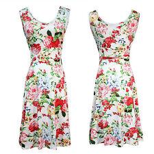 Women 50s 60s Vintage Retro Peony Floral Rockabilly Evening Party Swing Dress