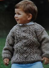 "Vintage Knitting Pattern Childs Warm Aran Jumper/Sweater 22-26"" - 56-66 cm No.29"