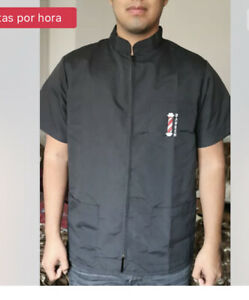Barber Vest Professional Hair Cutting Barber Jacket   Black Size L