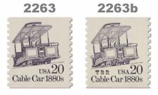 2263 2263b Cable Car 1880s 20c Tagging Variety of 2 Transportation MNH - Buy Now