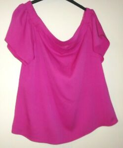 NEW WITH TAGS LADIES SIZE 18 TOP MAGENTA SMOCK ON OR OFF SHOULDER