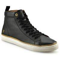 Mens Farah Berry Designer Leather Hi Top Lace Up Ankle Boots Trainers Shoes Size