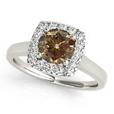 1.07 Carat Brown Cognac Diamond Solitaire Halo Fancy Engagement Ring 14k Gold