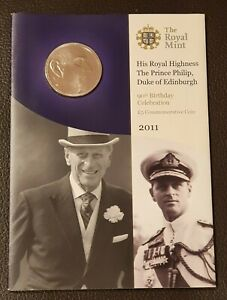 2011 £5 Five Pound BU Brilliant Uncirculated Coin Pack, Prince Philip