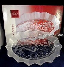 """Mikasa Holiday Classics Crystal Oval Frosted Platter 11.75"""" Mint Condition Box"""