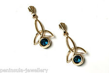 9ct Gold London Blue Topaz Drop Dangly Earrings Gift Boxed Made in UK