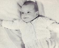 Vintage Knitting PATTERN to make Baby Cardigan Sweater Jacket Raglan Sleeve