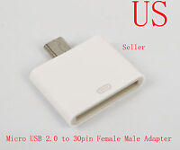 Dock 30pin Female to Micro USB 2.0 Male Adapter For Samsung Galaxy Note2 S3 S4