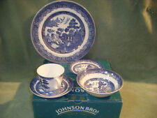 5PCS  BLUE  WHITE WILLOW CUP SAUCERS PLATE BOWL JOHNSON