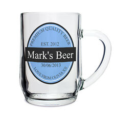 Personalised Name & Date Beer Label Tankard Glass - Gift Ideas For Men P0307A06