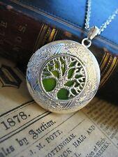 Tree of Life LOCKET Necklace Pendant Gothic Green Yellow Silver Photo Fantasy