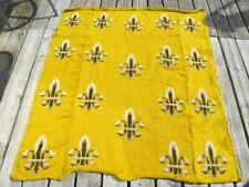 Vintage Yellow Gold Handmade Knitted Throw Blanket with Fleur-de-lis Designs