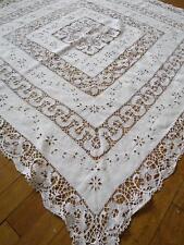 Pretty Victorian Irish Linen Table Cloth- Hand Worked Embroidery & Bobbin Lace