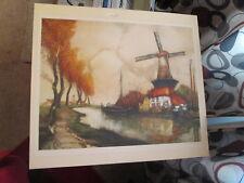 "JULIEN VAN SANTEN ""Riviere en Flandres"" Windmill by River Print Signed # 115"