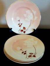 Syracuse Madam Butterfly Old Ivory Dinner Plates x4 White Flowers Brown Leaves