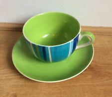 Jumbo Cup & Saucer Green Striped by Whittards Of Chelsea