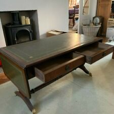 Stunning extending card / coffee table green leather / gold leaf two drawers