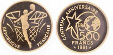 M9957 Rare Coffret 500 francs Basketball 1991 Or Gold BE PF PROOF COA -> FO
