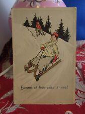 cpa  illustrateur sport d hivers la luge neige