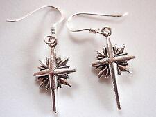 Cross on Star Earrings 925 Sterling Silver Dangle Corona Sun Jewelry