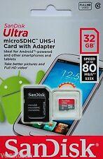 SANDISK ULTRA 32gb MICROSD SDHC uhs-1 Class 10 scheda 32gb con adattatore NUOVO & OVP