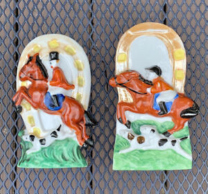Vintage Made in Japan Equestrian Horse Jumping Wall Pockets Ceramic Planters