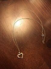 White Gold 19.5 Gold Chain 10 K Heart Pendant Diamond