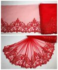 """7"""" 1Y Embroidered Floral Tulle Lace Trim Ruby Red Gorgeous Dance Costume/DIY"""