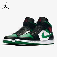 Nike Air Jordan 1 Mid Pine Green/Black Basketball Shoe 554724-067 Men's Size 13