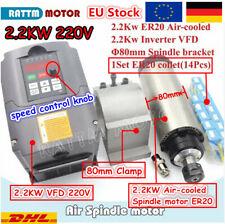 ◤DE◢ 2200W Air Cooled ER20 Collet Spindle Motor 400HZ+2.2KW HY VFD Inverter+80mm