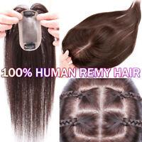 MONO Handmade 100% Human Remy Hair Topper Hairpiece Women Long Wiglet THICK P941