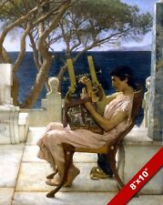 ANCIENT GREEK MAN HARP PLAYER BEAUTIFUL PAINTING MUSIC ART REAL CANVAS PRINT