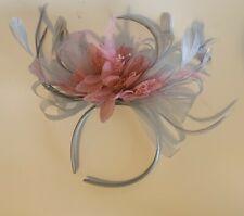 Light Silver Grey and Dusty Pink Fascinator Headband Wedding Race