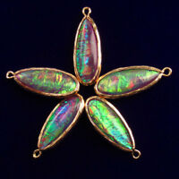 5Pcs 29x11x6mm Wrapped Rainbow Opal Teardrop Pendant Bead AG447
