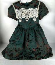 Jessica McClintock GirlsDress Sz 5  Lace collar Vintage brown green 80' 90's