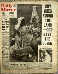 DAILY MIRROR Feb 9th 1952 KING GEORGE VI - ELIZABETH II