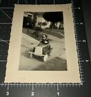 1930s PEDAL CAR Streamline Boy Racing Goggles RIDING TOY Vintage Snapshot PHOTO