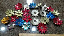 23 Antique Metal Christmas Tree Light Candle Reflectors - colors & punched tin