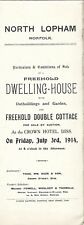 NORTH LOPHAM :1914 A Dwelling Houses + Cottage -sale particulars