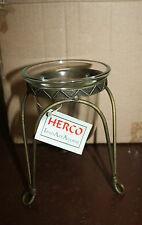 Antique Brass Wrought Iron Candle Holder w Glass Votive  Herco Iron Art Accent
