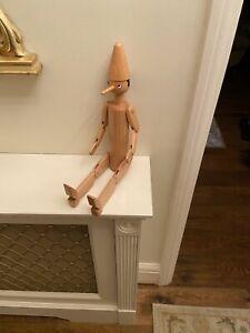 Tall Italian Original Quality Pinnochio Wooden Doll Fully Articulated