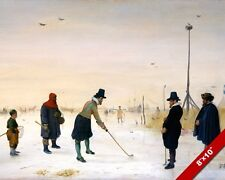 GOLFING ON FROZEN LAKE DUTCH GOLFERS ON ICE PAINTING GOLF ART REAL CANVAS PRINT