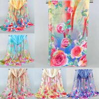 Women Chiffon Scarf Long Shawl Flower Feather Printed Scarves Neck Soft Wrap