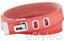 Fossil Brand Leather Wrap Bracelet Coral Pink Silver JF00316040
