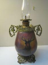 Antique Oil Kerosene Glass Victorian GWTW Lamp w/Painted Elk on Glass