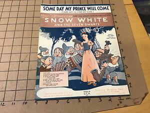 vintage Original sheet music: WALT DISNEY'S SNOW WHITE & SEVEN DWARFS prince wil