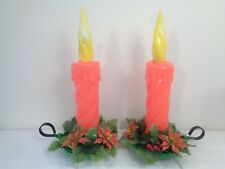 "Vintage Christmas Yule Candle Wreath Blow Mold Blowmold 18"" Lights Safe Tree"
